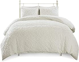 Madison Park White Sabrina 3 Piece Tufted Cotton Chenille Duvet Cover Set Full/Queen