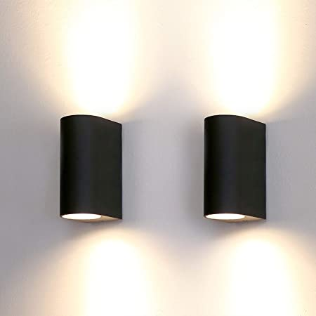 HLFVLITE 2-Pack Outdoor Wall Lights Aluminum Up/Down Outside Wall Lamp Exterior Wall Sconce, IP44 Waterproof Black Garden Lights for Patio, Terrace, Garden, Hallway, Balcony, Porch, Post, Pathway