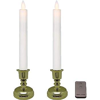 仏具 電池式 LED安全ロウソク 2本セット 「ゆらめき」 <本物の炎のように明かりが揺らぎます> リモコンで簡単操作 <中型以上の仏壇に最適>(燭台底面から炎の先端までの高さ24㎝)