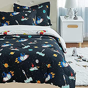 Bedsure Galaxy Bed in a Bag - Kids Bedding Sets for Boys 5 Piece Twin Comforter Sets Easy Care Super Soft Bed Sheets and Comforter Set  Twin Space & Rockets Black