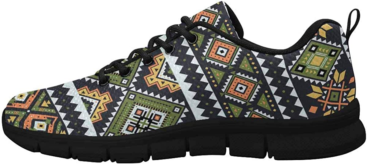 INTERESTPRINT Tribal Striped Patterns Women's Athletic Walking Running Sneakers Comfortable Lightweight Shoes