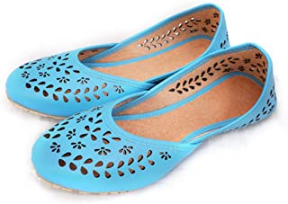 Apratim Synthetic Leather Women/Girl Jutti/Jutta/Footwear Ethnic Style Turquoise