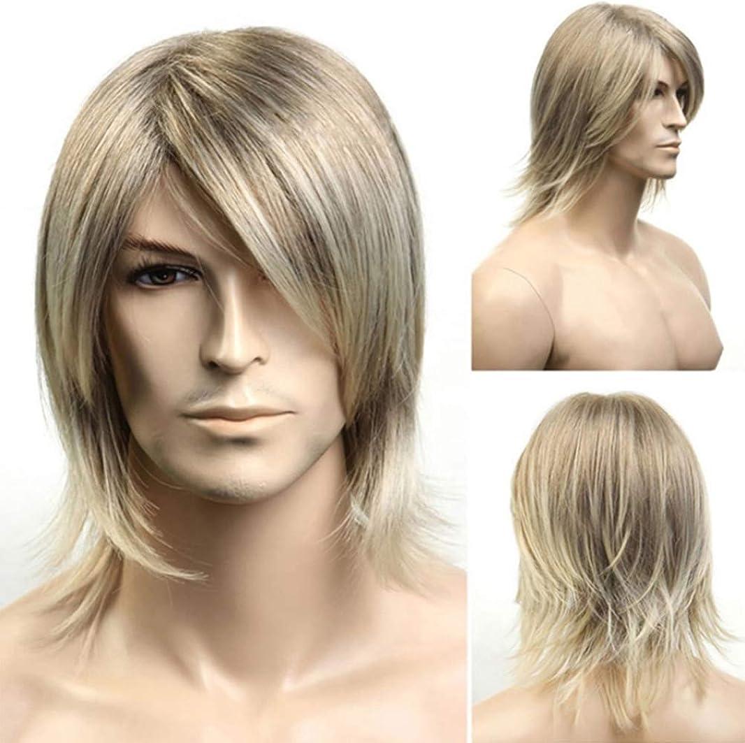 無意識正当化するスパンファッション男性かつら耐熱合成ブラジルの魅力的なゴールドの髪フルショートボブかつらゴールド42 cm