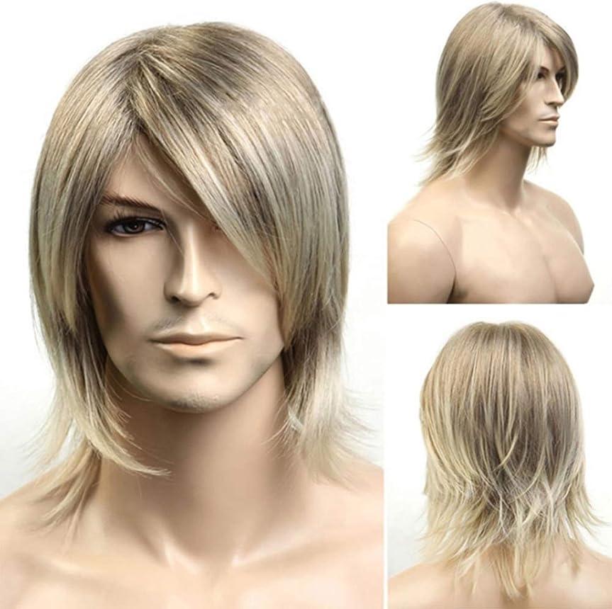 すすり泣きもつれシャープファッション男性かつら耐熱合成ブラジルの魅力的なゴールドの髪フルショートボブかつらゴールド42 cm