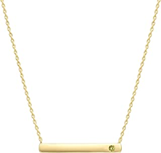 Best 14K Gold Plated Swarovski Crystal Birthstone Bar Necklace | Dainty Necklace | Gold Necklaces for Women | Reviews