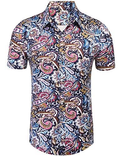 Daupanzees Mens Paisley Dress Shirt Fashion Noble Short Sleeve Vintage Italian Button-up Print Luxury Casual Button Down Shirts (Blue XL)