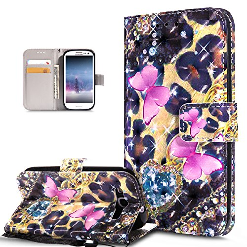 Kompatibel mit Galaxy S3 Hülle,Galaxy S3 Neo Hülle,3D Bunte Gemalte Schmetterlings PU Lederhülle Flip Ständer Wallet Hülle Tasche Tasche Schutzhülle für Galaxy S3/S3 Neo,Rosa Schmetterling