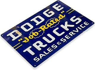 Tinworld Tin Sign Dodge Job Rated Trucks Rustic Retro Auto Shop Metal Sign Decor Garage Cave A328