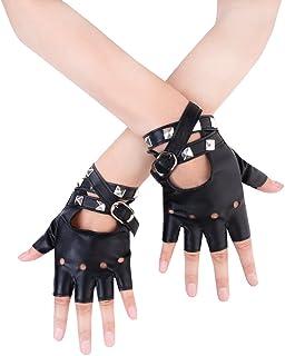 Women Punk Rivets Belt Up Half Finger PU Leather...