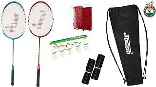 Jaspo GT 303 Pro Red/Blue Badminton Set(2 Badminton Racket and 5 Feather Shuttle Cork,1 Carry Bag,1 Grip,1 Badminton net)