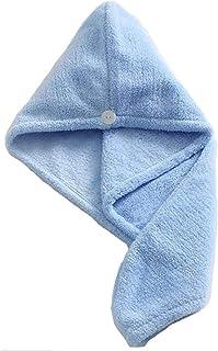 Microfiber Hair Drying Towel,Magic Hair Turban Wrap with Button,Hair Towel Wrap Dry Hair Hat Headband Turban Soft Fasten D...