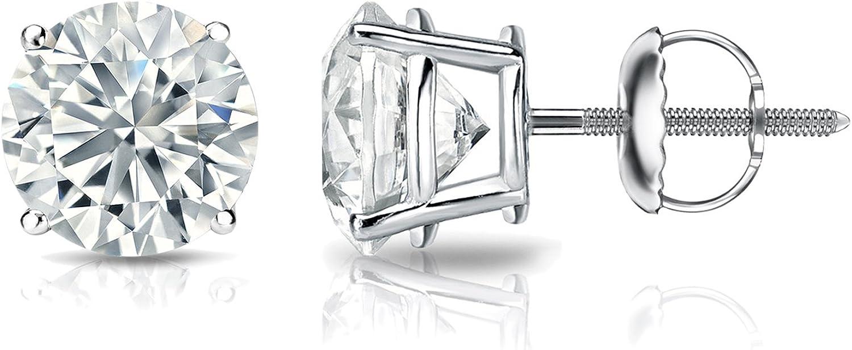 GIA Certified favorite Super intense SALE 14k White Gold Earring Diamond Stud Round 4-Prong
