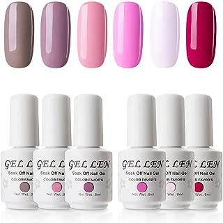 Gellen UV LED Soak Off Gel Polish Popular Fresh Pink 6 Colors Gift Set - 8ml Each