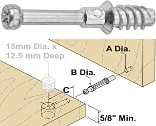 Platte River 866511, Fasteners, Knock Down (kd), 24mm L Dowel with 5. 5mm Dia. Thread, 10-Pack