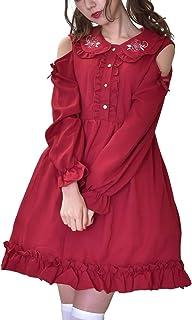 (Lady Oliver) ワンピース レディース ロリータ オフショルダー 膝丈 襟 ガーリー ピンク レッド 花刺繍