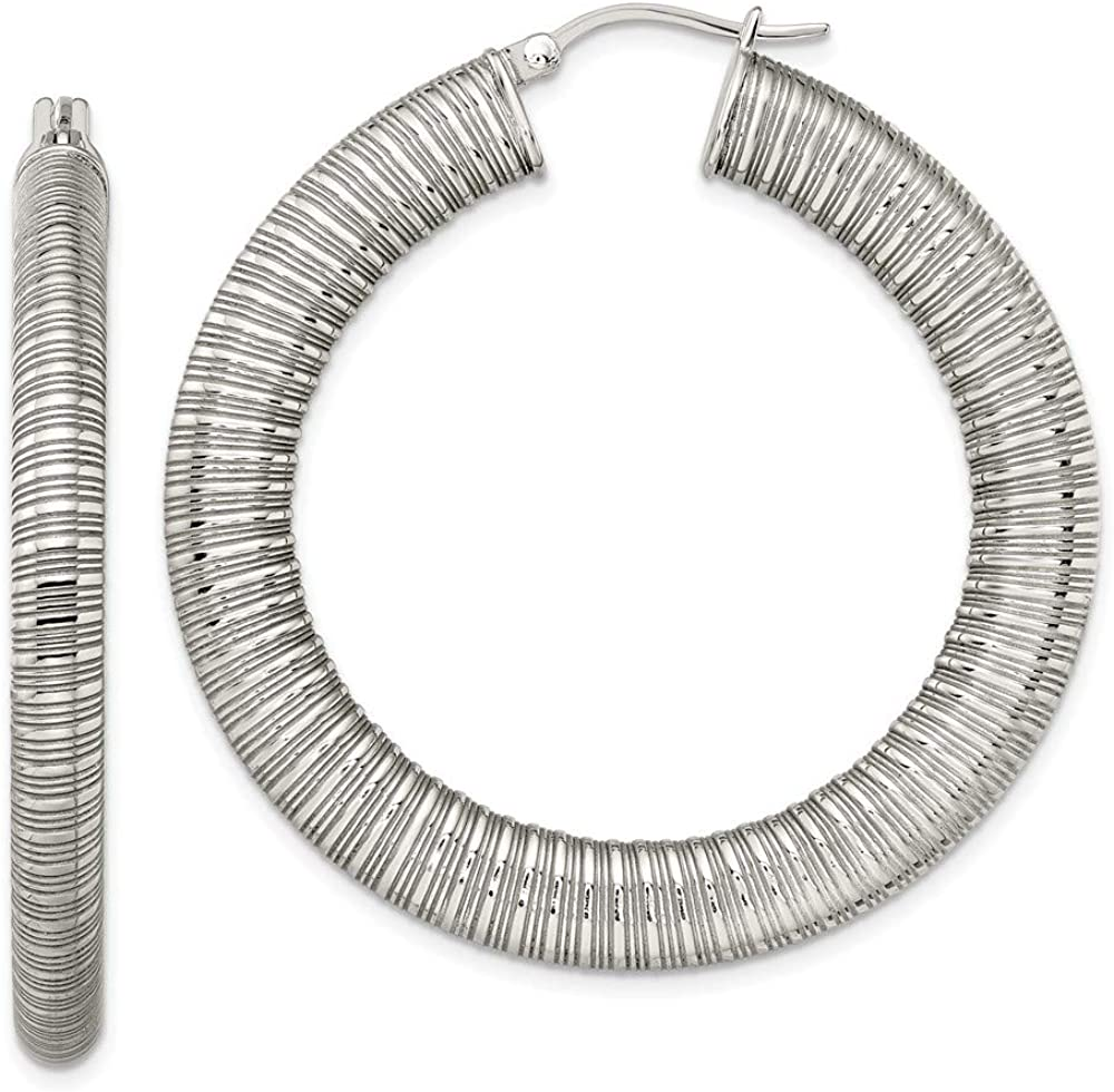 Stainless Steel Textured Free shipping on posting reviews Earrings Hoop Max 49% OFF Hollow