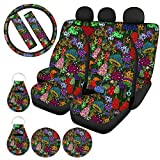 ZFRXIGN Rainbow Mushroom Car Seat Covers Full Set for SUV Trunk Decorative Front and Back Carseat Protector with Steering Wheel Covers, Coaster, Keychains, Seat Belt Pads Trippy