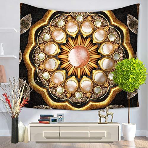 XIAOBAOZIGT Tapijt, hippie gekleurd, mandala-wandbehang, goud, Bohemen, 3D digitale bedrukking, deken, yogamat, hangende decoratie voor de woonkamer 150×130cm