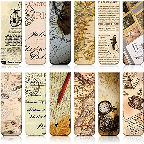 12 Pieces Vintage Style Magnetic Bookmarks Assorted Colors Magnet Page Markers Magnetic Reading Bookmarks Page Clip Markers for Students Reader Bookworm, Home School Office Supplies, 12 Designs