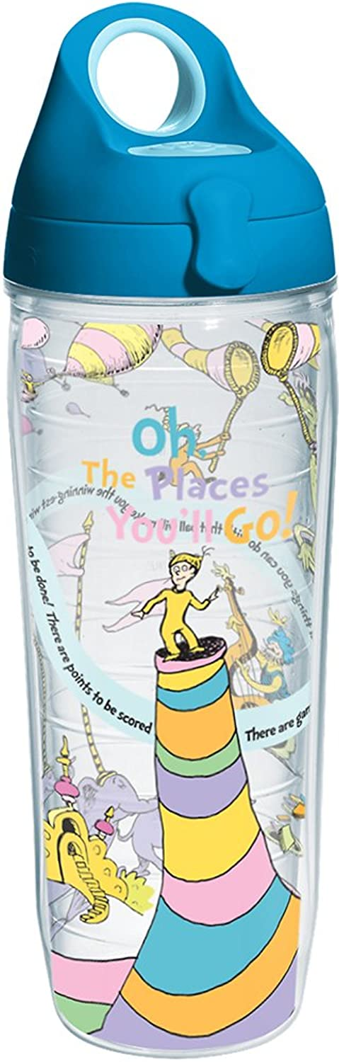 Tervis Dr Seuss Places You Will Go Wrap Water Bottle with Turquoise Wb Lid 24oz Clear