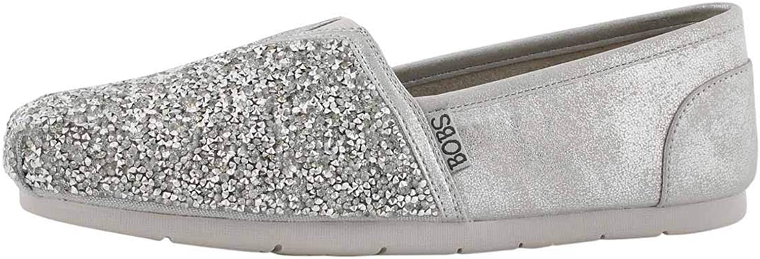 Skechers Women's Luxe Bobs Glitterville Slip On shoes Silver 8 M US