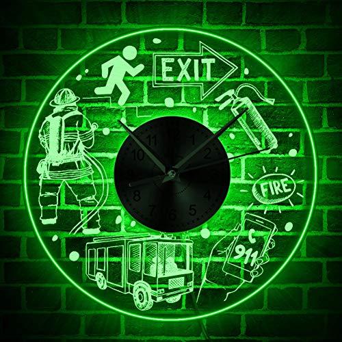 TOLYZ brandredding vuurafdeling LED-verlichting wandklok openbare veiligheid LED acryl wandplaat brandbestrijding elementen verlicht muur decor