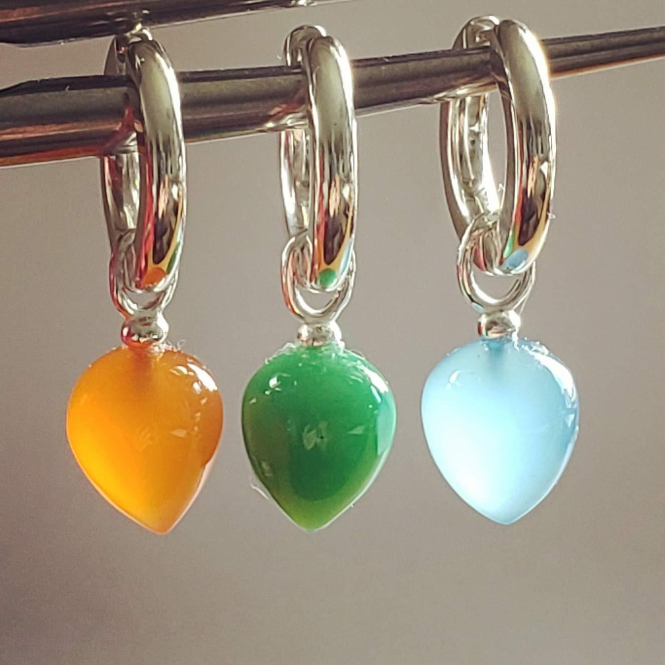 Huggies earrings. Calchedony Drop cal Max 64% OFF famous Orange