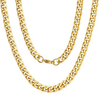 3MM/6MM/9MM/12MM Curb Cuban Link Chain Jewelry,14/18/22/24/26/28/30 inch, 316L Stainless Steel/Gold Plated (Send Gift Box)