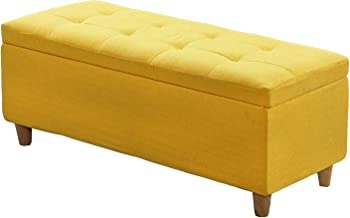 JQQJ Storage Box Seat Cube Fabric Bedroom Bench Storage Stool Shoes Bench Storage Ottomans Flipping Lid 23inch Puppy Step (Color : Yellow, Size : 60x40x40cm)