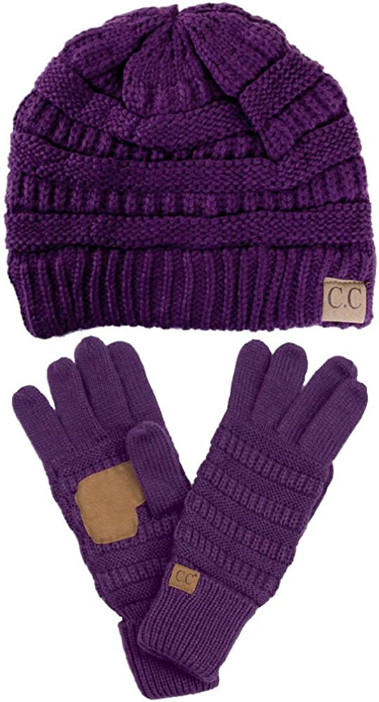 ScarvesMe 2pc Solid Color Trendy Warm Chunky Soft Stretch Cable Knit Beanie with Perfect Matching Gloves Set