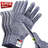 4 PCS Cut Resistant Gloves Food Grade Level 5 Protection for Kitchen, Upgrade Safety Anti Cutting Gloves for Meat...
