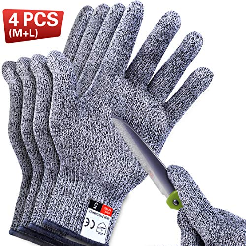 4 PCS Cut Resistant Gloves Level 5 Protection for Kitchen, Upgrade Safety Anti Cutting Gloves for Meat Cutting, Wood Carving, Mandolin Slicing and More, (M-L), THOMEN