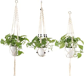 Yarnow 3pcs Macrame Plant Hanger Cotton Woven Hanging Plant Holder Plant Pot Stand for Indoor Outdoor Home Wall Art Birthd...