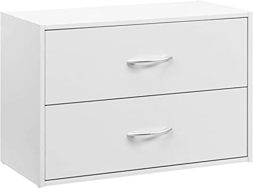 high quality Giantex Dressers Stackable 2 Drawer Horiztonal Organizer W/Handles Dresser Tower online new arrival for Bedroom, Living Room, Office Supplies,Closet 2-Drawer Storage Cube (1, White) online sale