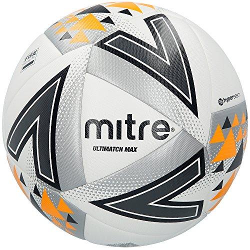 Mitre Fußball Spielball Ultimatch Max, White/Silver/Orange, 5, BB1115WSA
