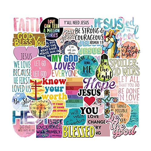XUBX Water Bottle Stickers Packs,Jesus 50pcs Waterproof Vinyl Sticker, Laptop Luggage Phone Car Skateboard for Teenager Stickers (Christian)