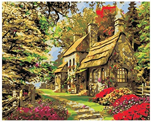 Kit de pintura al óleo de bricolaje pre impreso lienzo bosque cabaña 40x50cm sin marco