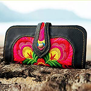 Changnoi Hmong Embroidered Red Floral Wallet for Woman with Genuine Leather, Bohemian Wallet