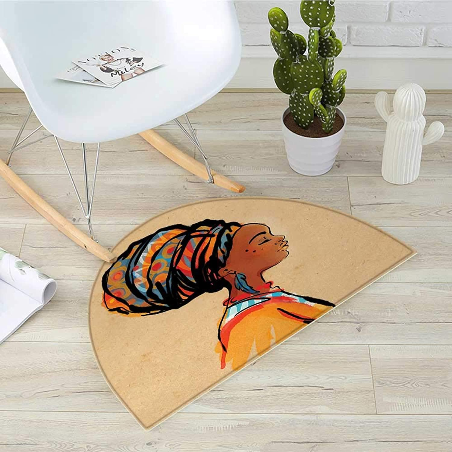 African Semicircular CushionEthnic Woman with Exotic Feather Earring and Scarf Zulu Hippie Artwork Entry Door Mat H 39.3  xD 59  Caramel and Marigold