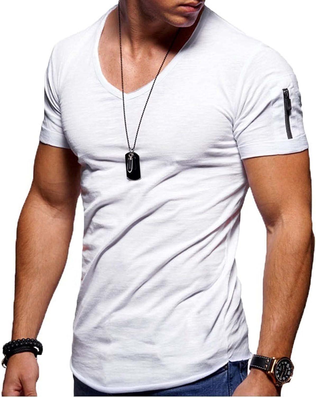 Mens Casual T Shirts Big and Tall Fashion Solid Color Tees Crewneck Short Tops