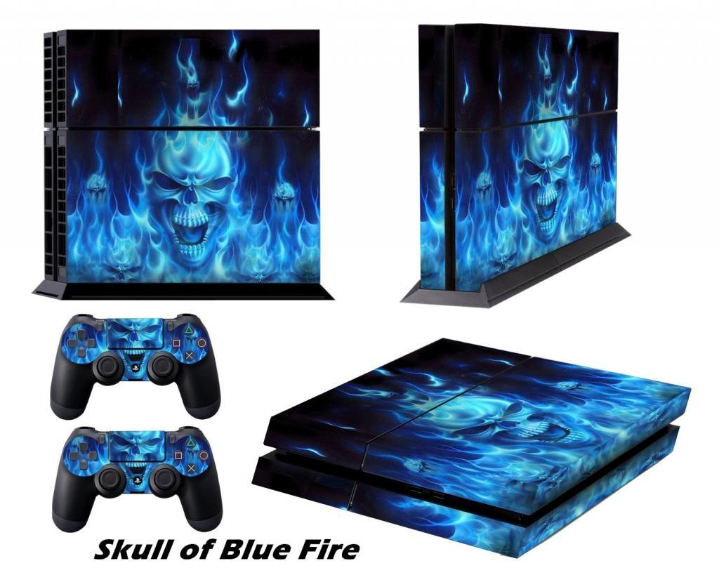 Stickers for PS4 Playstation 4 Decals PS4 Games Skins Accessories Protective Skin for Sony Console System Plus Two(2) Decals For: PS4 Dualshock Wireless Controller - Skull of Blue Fire: Amazon.es: Videojuegos