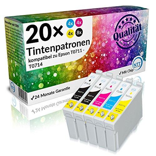 N.T.T.® - 20 STÜCK XL Druckerpatronen/Tintenpatronen Sparset für Epson T0711 T0712 T0713 T0714 T0715 mit Chip
