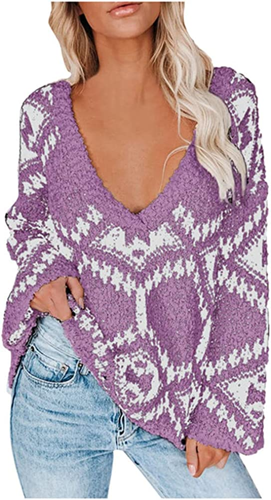 NP Autumn Winter Loose Women's Knitwear Sweaters Print Knitted Casual Knit Sweater