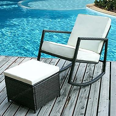 Merax Rattan Rocker Chair Patio Wicker Rocking Armed Chair Outdoor Garden Lounge Chair with Cushioned Ottoman (Cushion Beige)