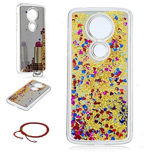 GOCDLJ Schutzhülle für Motorola Moto E5 Plus Hülle Ultra Thin TPU Glitter Fließen Flüssig Bling Spiegel Transparent Bumper Cover Silikon Handyhülle Weiche Etui für Moto E5 Plus Case- Gelb
