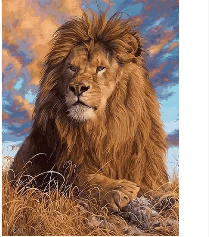 CZYYOU DIY Digital Malen Nach Zahlen Die Prairie Lion Ölgemälde Wandgemälde Kits Färbung Wandkunst Bild Geschenk - Mit Rahmen - 40x50cm B07Q1NGTKD | Louis, ausführlich