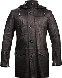 FE- Zea Black Long Hoodie Leather Trench Coat Stylish Distressed Blazer w Hooded Mens Detachable Zipper Hood