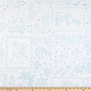 Riley Blake Designs Riley Blake Granny Chic 108'' Wide Back Vintage Embroidery Blue Fabric