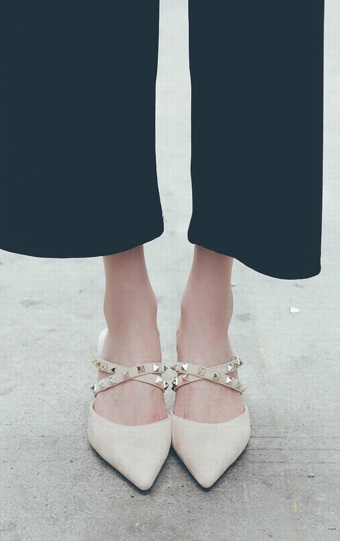 DHG Hochhackige, Spitze Damenschuhe mit Nieten, Fein mit Baotou Mulei-Schuhen, Frauen-Sandalen,Aprikose,34  | Schenken Sie Ihrem Kind eine glückliche Kindheit
