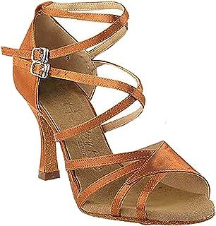 Very Fine Ballroom Latin Tango Salsa Dance Shoes for Women CD1122DB 1.5 Inch Heel+Foldable Brush Bundle